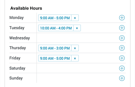 Set available times for appointment scheduling